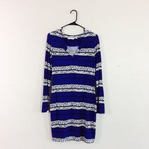 DVF Animal Print Geo Vneck Shift Dress